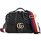 GUCCI GG Marmont 山形絎縫皮革肩背兩用包(黑色)