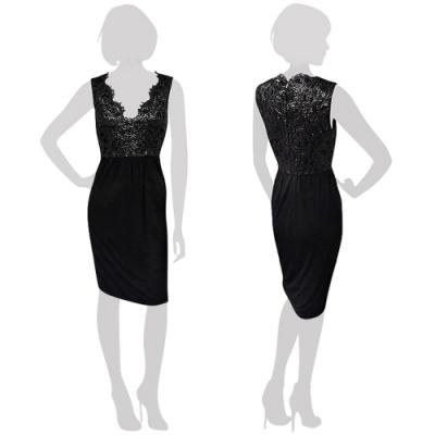 GUCCI 黑色蕾絲亮澤繡印設計修身洋裝-XS號