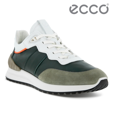 ECCO ASTIR 雅躍拼接皮革運動休閒鞋 男鞋 草綠色/藻綠色/金盞花橘