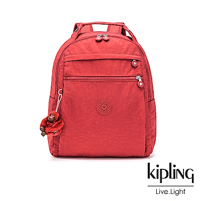 Kipling 燦爛緋紅多袋實用後背包-MICAH