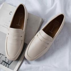KEITH-WILL時尚鞋館 純淨簡約復古豆豆鞋 米