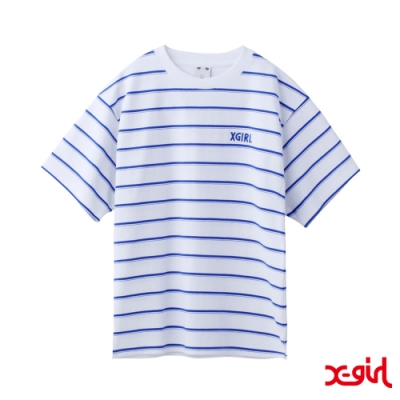X-girl STRIPED PIQUE S/S TOP短袖條紋T恤-白/藍