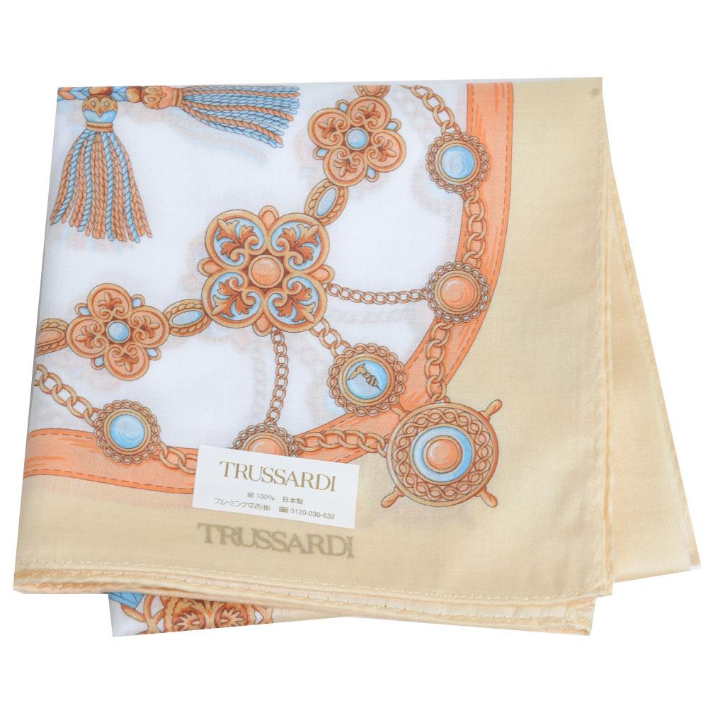TRUSSARDI 優雅品牌皮穿鍊流蘇圖騰LOGO大帕領巾(粉黃系)