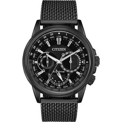 CITIZEN 星辰 光動能日曆手錶-黑/44mm BU2025-76E