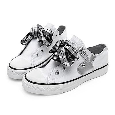 PLAYBOY 甜美格紋蝴蝶結休閒鞋-白-Y520511