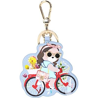 FURLA LADY BLOGGER 腳踏車時髦熊牛皮鑰匙圈