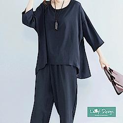 LEAF DESIGN韓版修飾棉麻傘擺上衣-黑-F