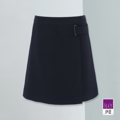 ILEY伊蕾 裝飾腰帶開衩A字裙(藍)