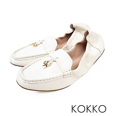 KOKKO - 最美的風景柔軟羊皮莫卡辛便鞋 - 雛菊白