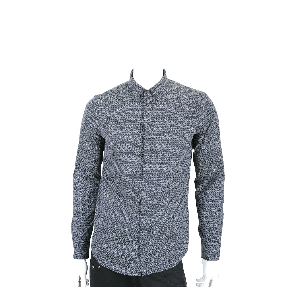 Emporio Armani 滿版老鷹標誌深藍色印花襯衫(男款)