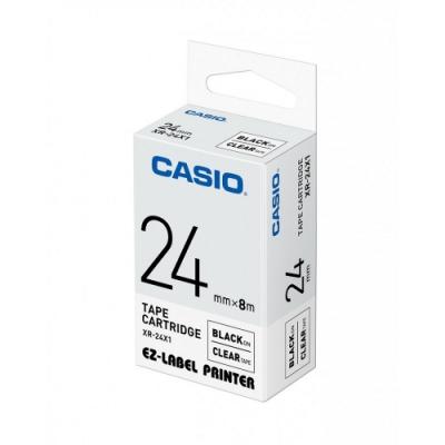 CASIO  標籤機專用色帶-24mm【共有<b>5</b>色】透明底黑字(XR-24X1)