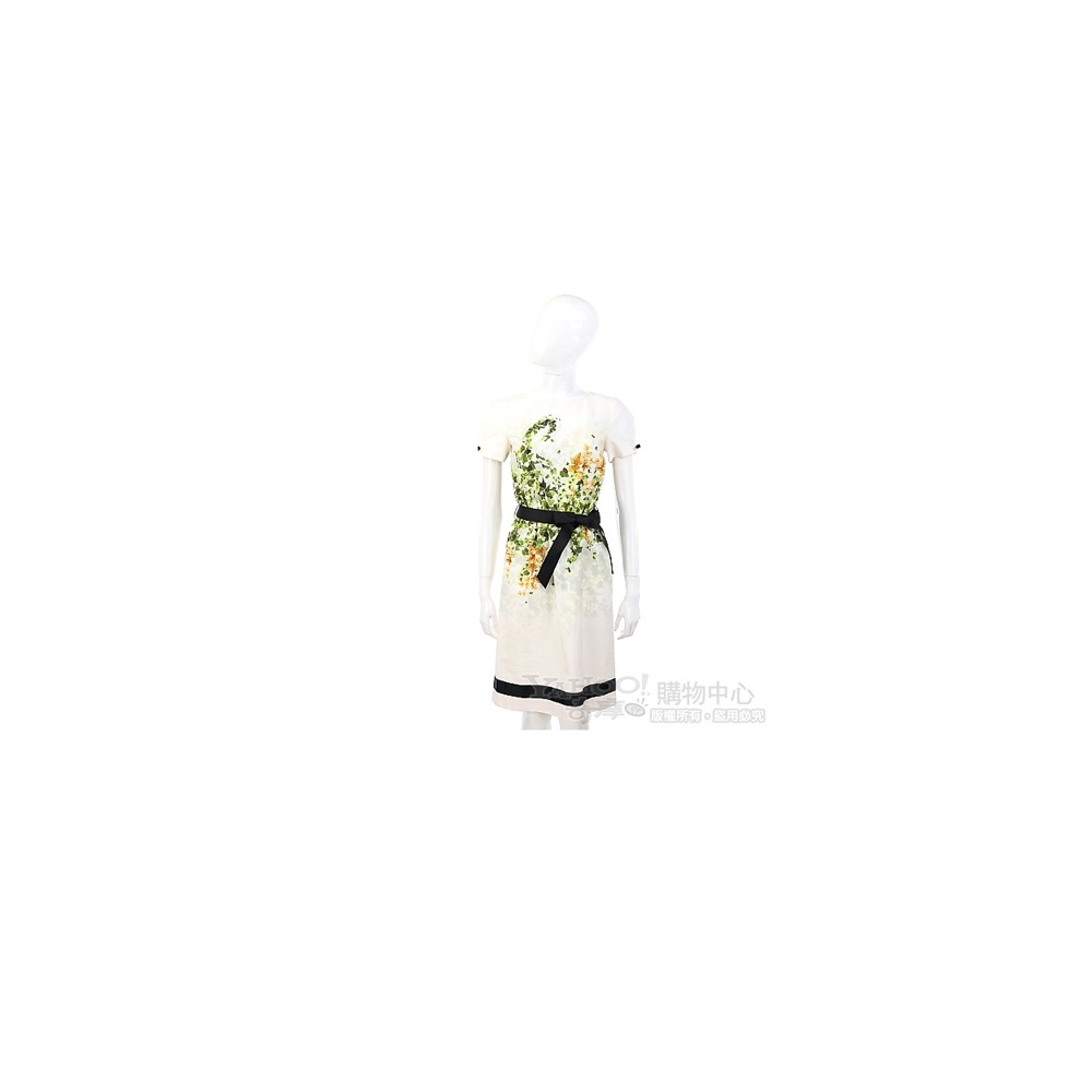 CLASS roberto cavalli 米白色綠黃葉圖騰短袖洋裝(附腰帶)