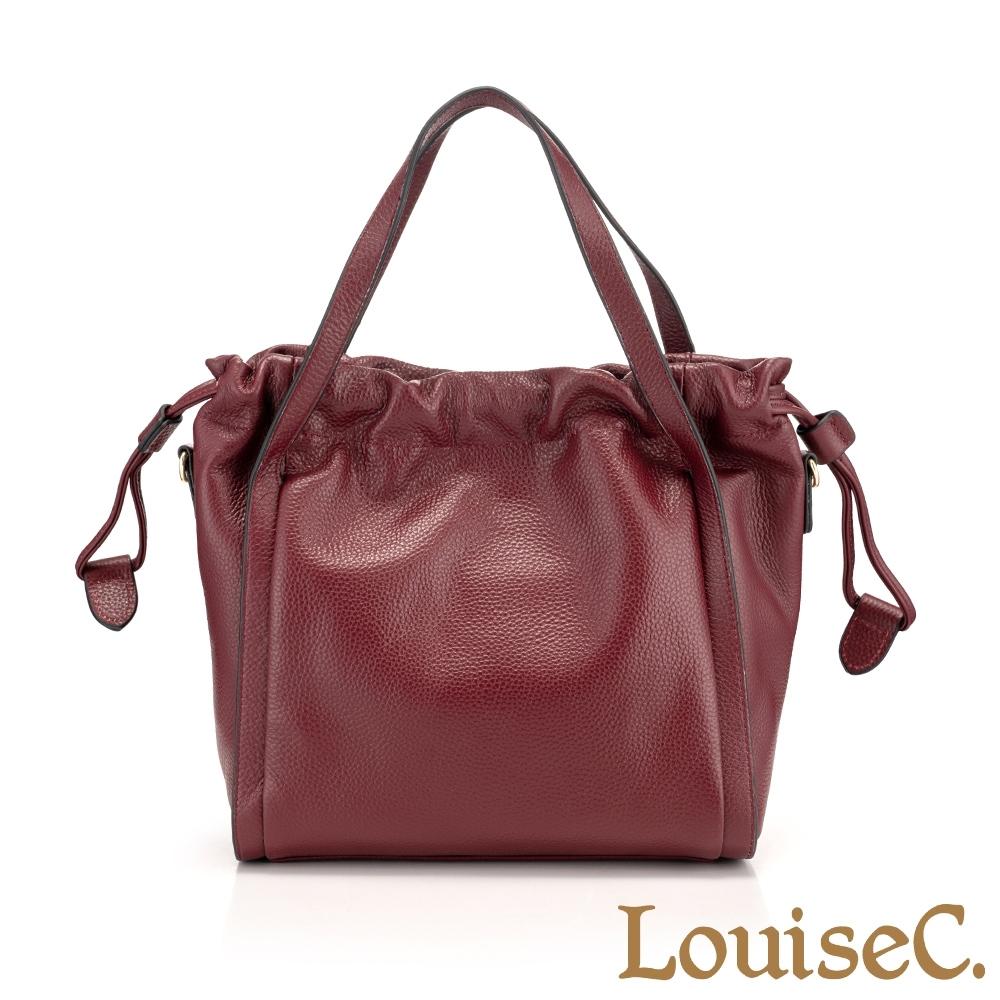 【Tree House】LouiseC. 真牛皮手提斜背水桶包(酒紅色)-經典束口設計 CD8856-01
