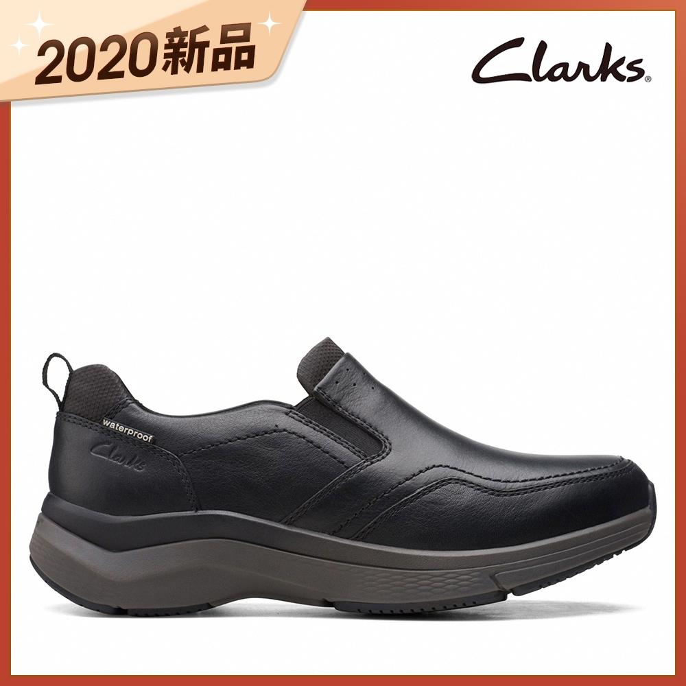 Clarks UN 運動休閒 防潑水Wave弧形大底設計男便鞋 黑色