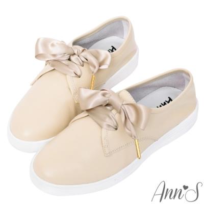Ann'S第二代超軟真牛皮小清新附緞帶小白鞋-奶茶杏