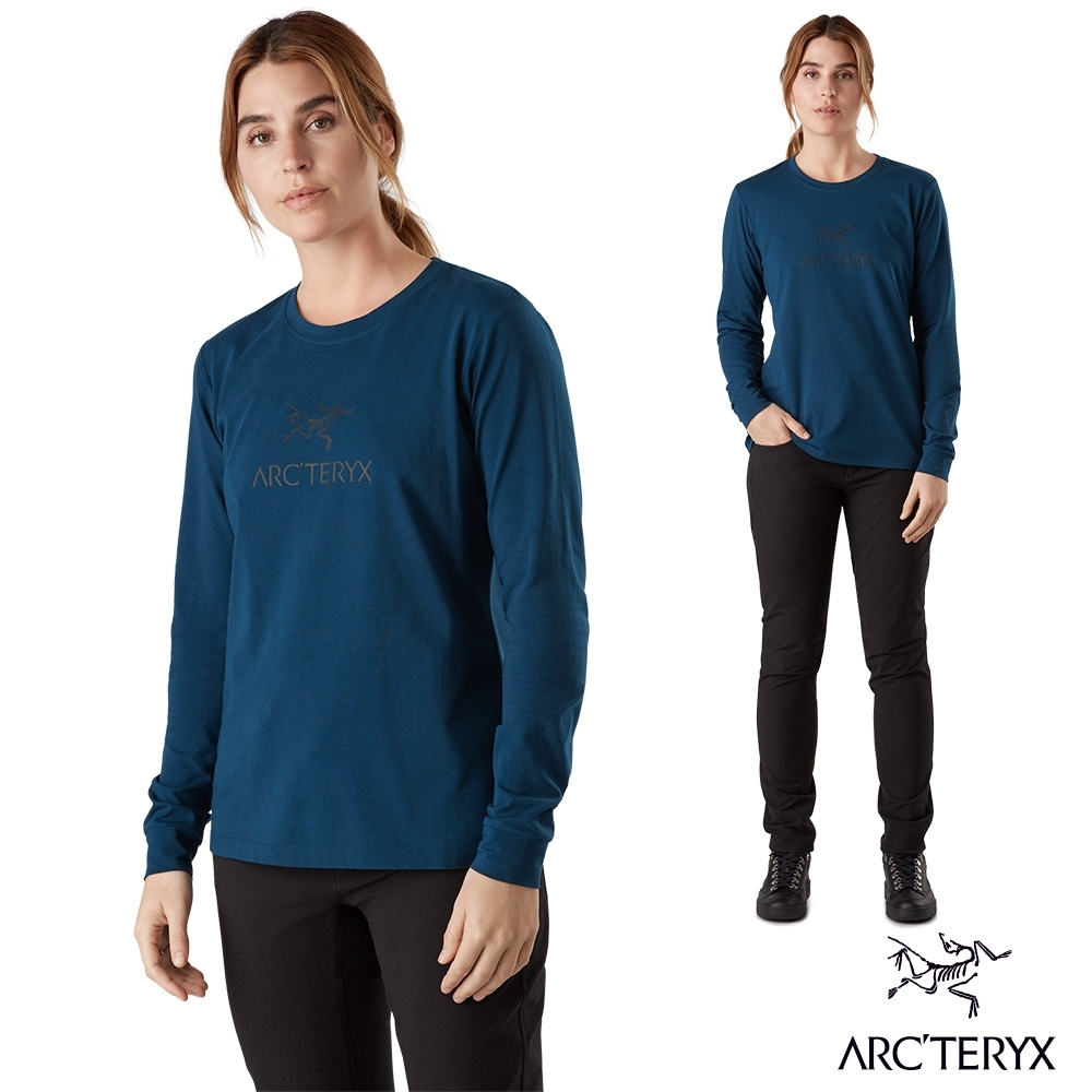 Arcteryx 始祖鳥 女 有機棉 LOGO 長袖T恤 宇宙藍