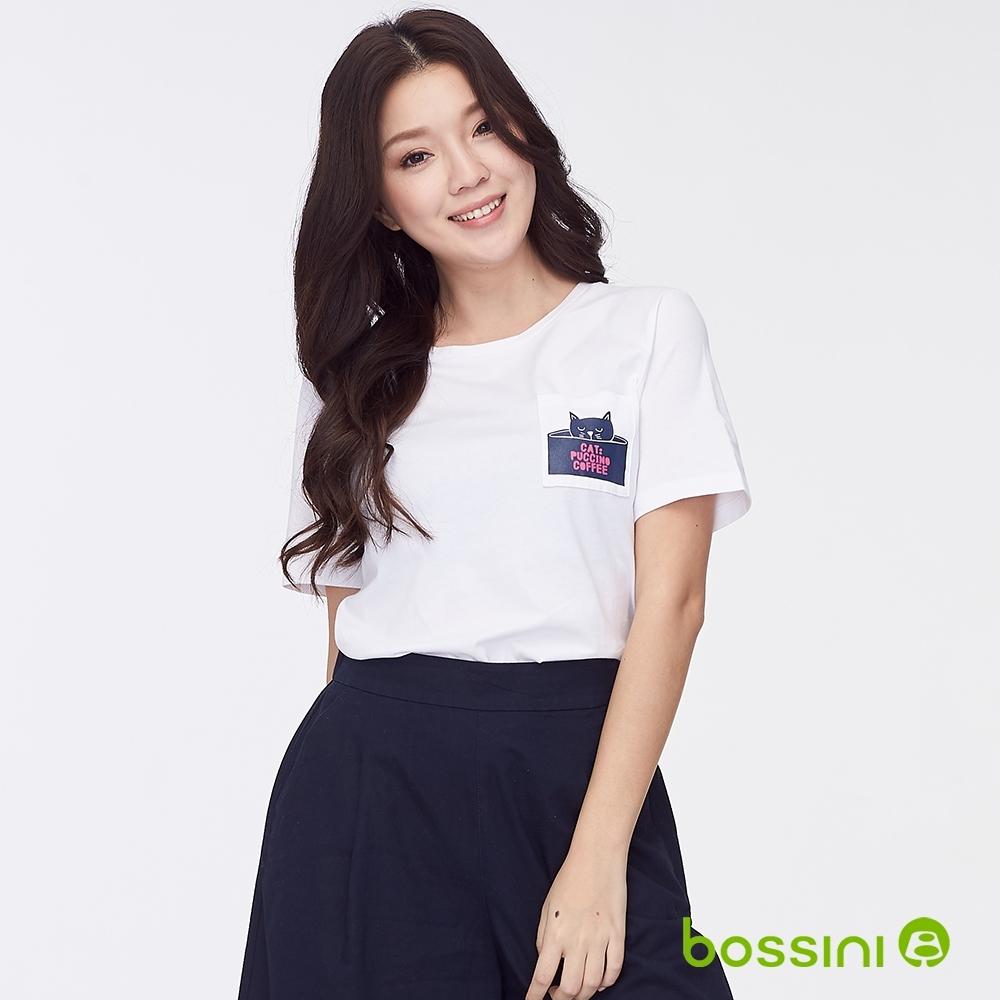 bossini女裝-圓領短袖口袋上衣白