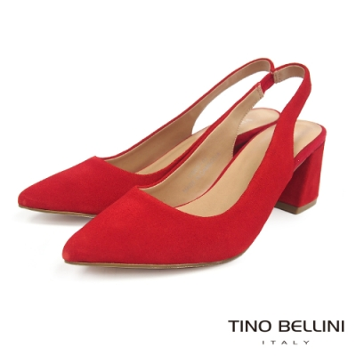 Tino Bellini 秋意絨感牛麂皮後拉帶高跟鞋 _紅