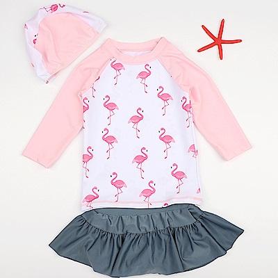 JoyNa 兒童泳衣泳褲火烈鳥公主裙防曬三件套組