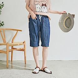 慢 生活 束腰綁帶六分牛仔褲-深藍/淺藍
