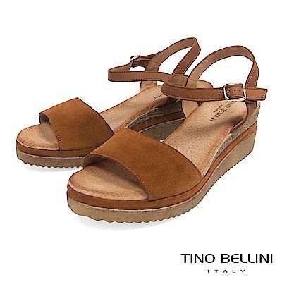 Tino Bellini 西班牙進口牛皮MIX木紋夾心楔型繫踝涼鞋 _ 棕