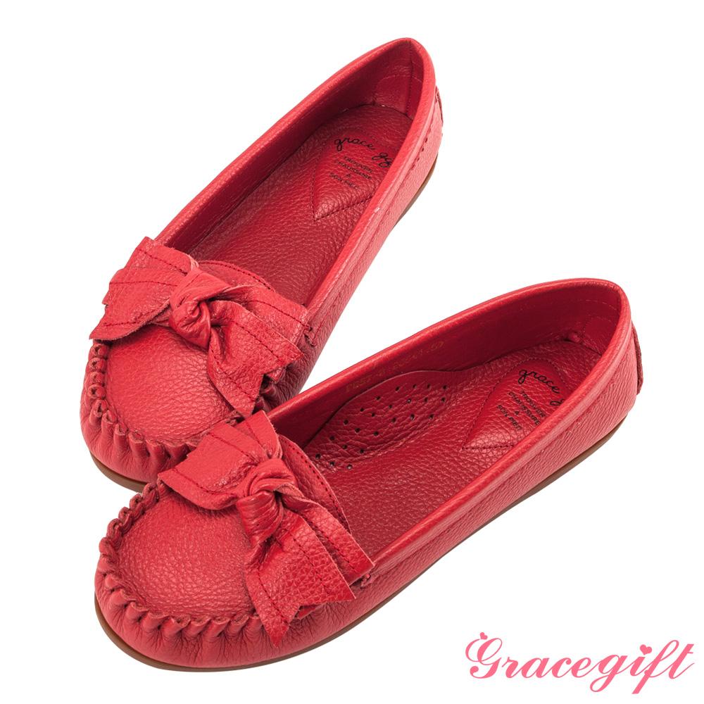 Grace gift-全真皮蝴蝶結豆豆底莫卡辛鞋 紅