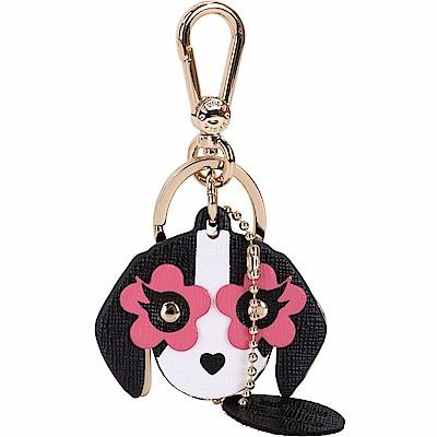 FURLA VENUS 黑粉色花眼小狗造型鑰匙圈
