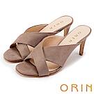 ORIN 夏日時尚風 簡約素面寬版交叉高跟涼拖-可可