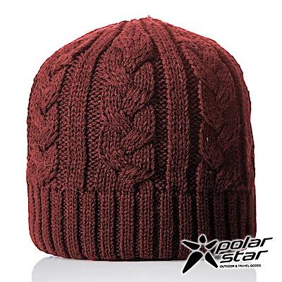 【PolarStar】中性 素色編織保暖帽『暗紅』P18603