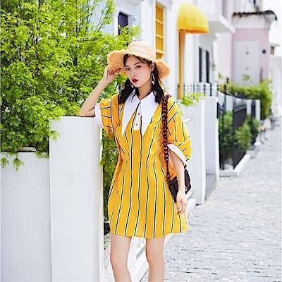 DABI 韓國復古風燈籠袖撞色大方領條紋拼接襯衫裙