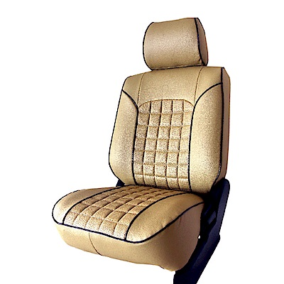 【葵花】量身訂做-汽車椅套-日式合成皮-開運格子C-露營車款-雙前座-第一排2人座