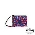 Kipling 古典茜紅小花多夾層證件零錢包-CINDY