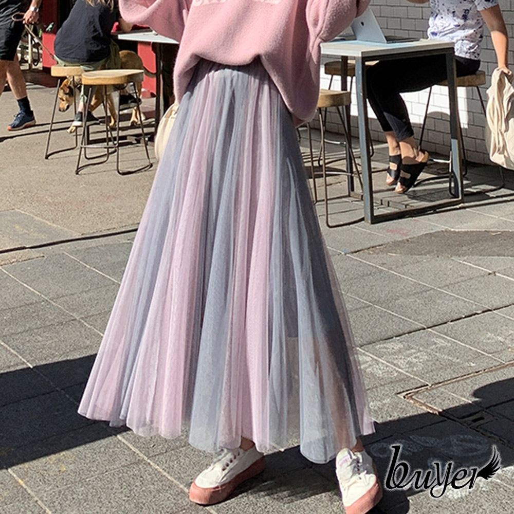 【白鵝buyer】夢幻 雙色層次多層次紗裙(粉紫)