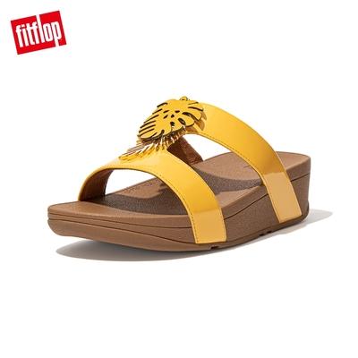 FitFlop LOTTIE JUNGLE LEAF SLIDES 熱帶葉飾H型雙帶涼鞋-女(夕陽黃)