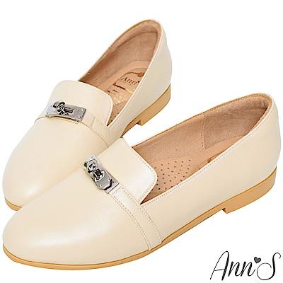 Ann'S舒適MIT鎖頭羊皮平底紳士鞋-米(版型偏大)