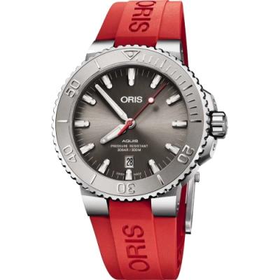 ORIS 豪利時 Aquis Relief 日期潛水機械錶-灰x紅色錶帶/43.5mm