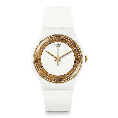 Swatch THINK FUN系列 SILIWHITE 透明白鏡手錶