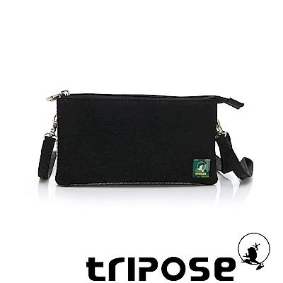 tripose 漫遊系列岩紋簡約微旅手拿/側肩包 黑