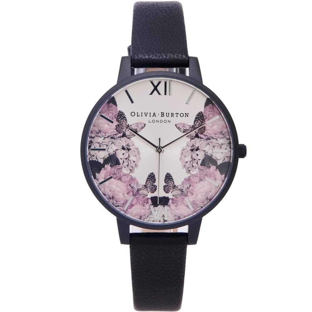 OLIVIA BURTON 蝶舞花語風格皮革錶帶手錶(OB16AD10)-銀面X黑色/38mm