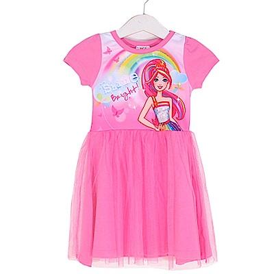 芭比短袖蕾絲連身裙 桃 k50388 魔法Baby