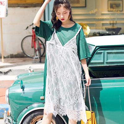假兩件拼接蕾絲五分袖洋裝 (綠色)-Kugi Girl