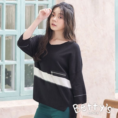 betty's貝蒂思 條紋俏皮配色針織線衫(黑色)