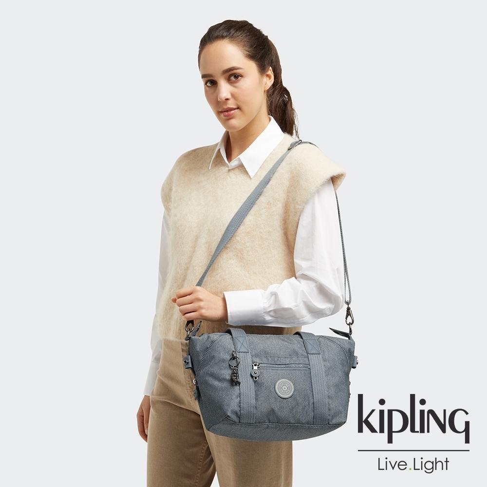 Kipling 個性淺灰藍手提側背包-ART MINI