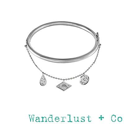 Wanderlust+Co 澳洲品牌 古典銀河星系小墜手環 銀色百搭素面手環 GALAXY