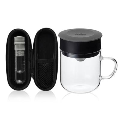 【PO:Selected】丹麥咖啡泡茶兩件組 (咖啡玻璃杯240ml-灰/試管茶格-灰)