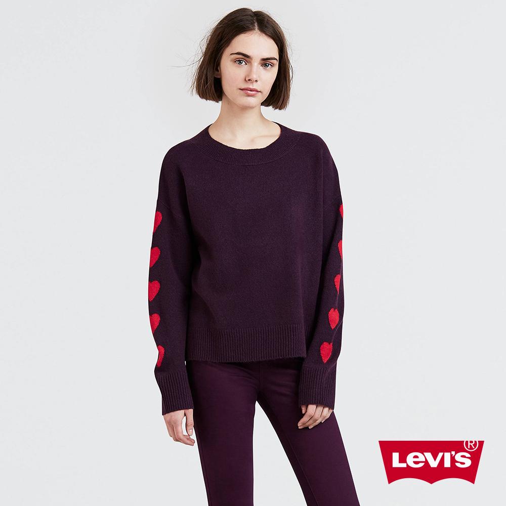 Levis 女款 毛衣 袖子愛心 紫紅