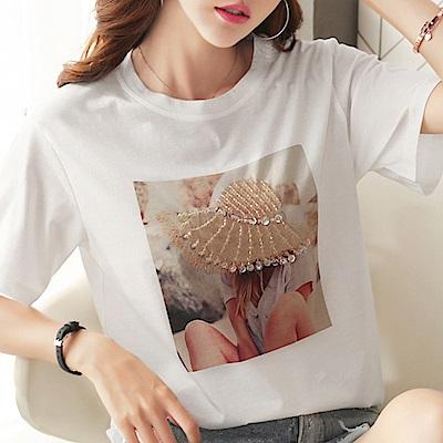 初色  圓領帽子釘珠短袖上衣-白色-(M-XL可選)