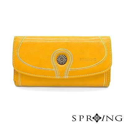 SPRING-日光系列-釦式長夾-太陽黃