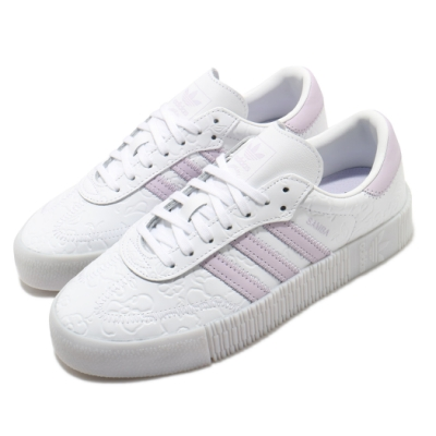 adidas 休閒鞋 Sambarose 厚底 女鞋 愛迪達 三葉草 壓紋 皮革鞋面 穿搭 白 紫 FV0770
