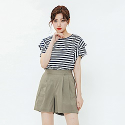 H:CONNECT 韓國品牌 女裝-層次袖條紋上衣-藍